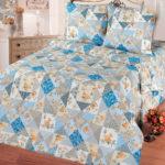 Комплект постельного белья «Лоскутная мозаика голубая» - 1-5-spalnyj