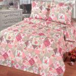 Комплект постельного белья «Лоскутная мозаика розовая» - 1-5-spalnyj